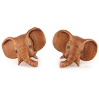 Evolatree - Elephant - Wood - Gauge Earrings - Plugs (See Size Options)