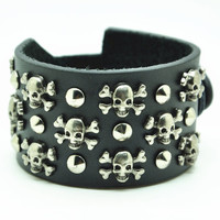 Black Leather Bracelet with Skull Rivet Women Jewelry Bangle Fashion Bracelet, Men bracelet   C021