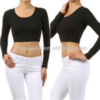 Black Scoop Neck Long Sleeve Cotton Cropped Crop Top Stretch Casual - Buy Ladies Stretch Tops,Sexy Stretch Top,Cotton Stretch Blouse Product on Alibaba.com