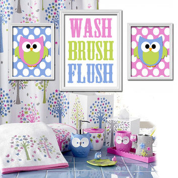 Owl hoot theme bathroom wash brush flush from trm design home - Owl themed bathroom decor ...