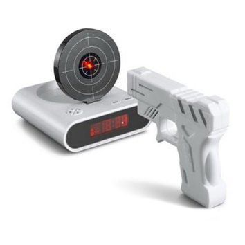 Gun O'Clock Shooting Alarm clock (White)