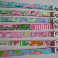 ONE Key Lanyard/ ID Badge Holder m/w Lilly Pulitzer fabric