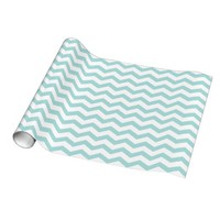 Tiffany Blue & White Chevron Pattern Gift Wrapping Paper