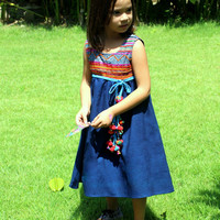 Little Girls Blue Embroidered Bohemian Style Dress 3 - 4