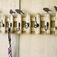 hanging wall hooks with picket fence detail