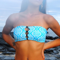 Peek-a-boob Bandeau Top- Turquoise and White tribal