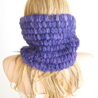 Winter Accessories, Purple Mohair Chunky Neckwarmer, Scarflette