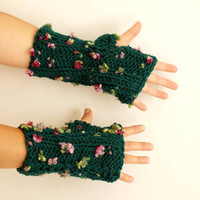 Flower Field-Knit Handwarmers- Fingerless Mittens - Winter Accessories - Emerald green mitten, gloves