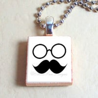 "Scrabble Jewelry, Movember Mustache with Glasses, Necklace, Pendant, 24"" chain included"