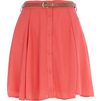 Coral chiffon button through skater skirt