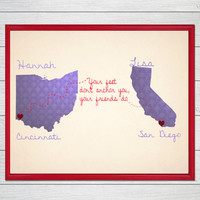 personalized map,long distance, love, relationship, gift, birthday,christmas,custom map