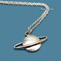 Planet Saturn Necklace - stainless steel chain geek necklace nerd necklace science freak space galaxy fun quirky funky cute funny jewelry I
