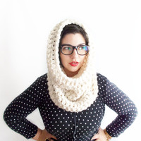 Chunky Cowl in Winter White -12 COLORS AVAILABLE -Hooded Infinity Scarf -Neck Warmer - Oversized Knits