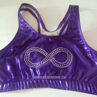 Infinity Rhinestone Metallic Sports Bra, Yoga, Running, Working Out