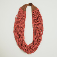 Red-Multi-Strand Seed Bead Necklace