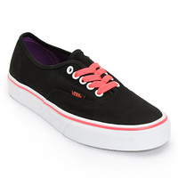 Vans Girls Authentic Black & Neon Red Shoe at Zumiez : PDP