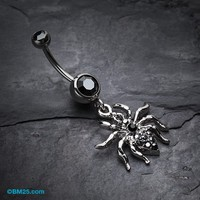 Venom Spider Multi-Gem Belly Button Ring