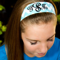 "Monogram Blue Chevron ""Non Slip"" Headband"
