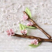 Cherry Blossom Tiny Twig Hair Pins by WoodlandBelle on Etsy
