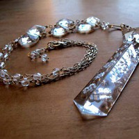Clear Glass Chandelier Crystal Sterling Silver Necklace | OvertheTop - Jewelry on ArtFire
