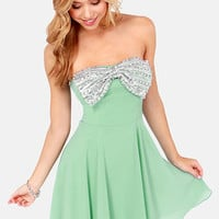 Bow and Steady Strapless Mint Green Sequin Dress