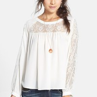 Elodie Lace Inset Peasant Top (Juniors) | Nordstrom