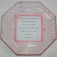 Breast Cancer Hope Joy Peace Romans 15:13 Decoupage Plate AA342934
