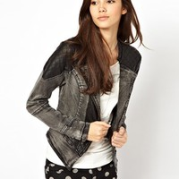 Only Quilted Leather Look Panelled Denim Jacket