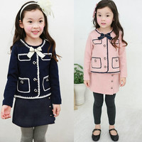 Lovely Baby Girls Kids Outfits Bowtie Pullover Tops Outwear Pants Trousers 1Pt