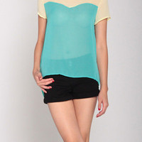 Chiffon Contrast Top in Light Yellow/Sea Green