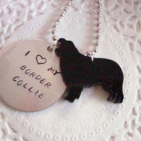 I Love My Border Collie Hand Stamped Keychain Black Or Brown Charm Made To Order