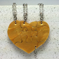 Heart Shaped Puzzle Necklaces Set of 4 Interlocking Necklaces Bright Gold Polymer Clay Made To Order