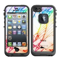 Skins Kit for Lifeproof iPhone 5 Case (skins/decals only) - White iPhone back side cracked Shattered with Colors Sharpie