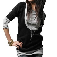 Allegra K Lady Drawstring String Hooded Long Sleeve Shirt Black Gray XS