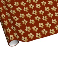 Golden Plum Blossoms Linen Wrapping Paper