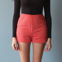 high waist shorts / 70s red high waisted polka dot shorts (xxs-xs)