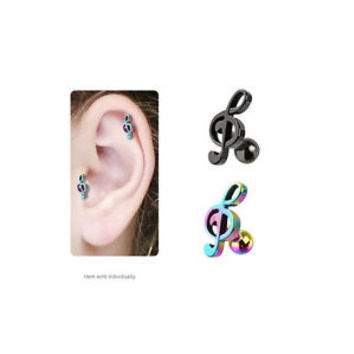 IP Treble Clef Music Note Cartilage / Tragus Stud Earring - JA1019