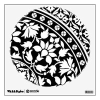 Indian Black and White Floral Geometric Pattern Room Sticker