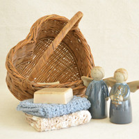 Christmas Gift Basket / Country Cottage Housewarming Gift Basket with Goat's Milk Soap and Hand Crocheted Dish Cloths