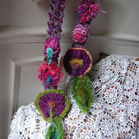 hand made crochet colourful scarf with flowers by lamamadesmatous