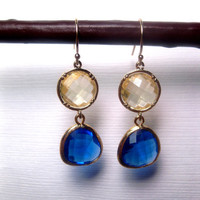 Sunny Sands Blue Shore Double Drop Earrings With 14k Gold