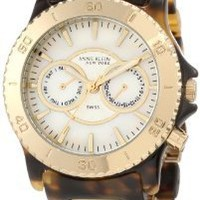 Anne Klein New York Women&#x27;s 122024WMTO Multi-Function and Gold-Tone Tortoise Resin Bracelet Watch