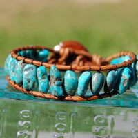 Genuine Turquoise Wrapped Brown Leather by authenticaboutique