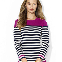 Lauren Ralph Lauren Sweater, Long-Sleeve Striped Colorblock - Sweaters - Women - Macy's