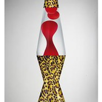 Lava Lamp with Red Lava, Clear Liquid, and Leopard Base