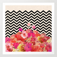 Chevron Flora II Art Print by Bianca Green