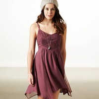 AE Lace Paneled Handkerchief Dress | American Eagle Outfitters