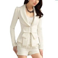 Allegra K Lady Shawl Neck Bowtie Accent Long Sleeves Blazer Jacket White
