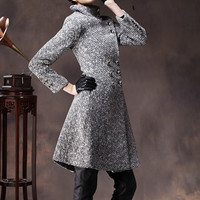 Gray Wool Coat Fitted Military Jacket Cashmere by camelliatune