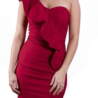 Gabriela Solid Red Wine One Shoulder Dress